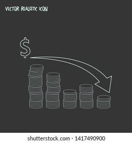 Money decrease icon line element.  illustration of money decrease icon line isolated on clean background for your web mobile app logo design.