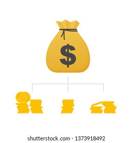 Money diversification revenue, financial diversification portfolio. Financial success and balance. Business diversification.  stock illustration.