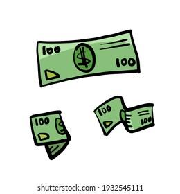 money dollar bills. cartoon drawing. illustration. white background. isolated object