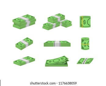 Money Dollar Set Packing in Bundles of Bank Notes Finance Currency Concept. illustration