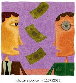 Money falling between a happy businessman and a worried man