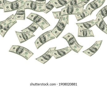 Money falling. Business concept dollars banknotes cash rain economic investment products wealth background