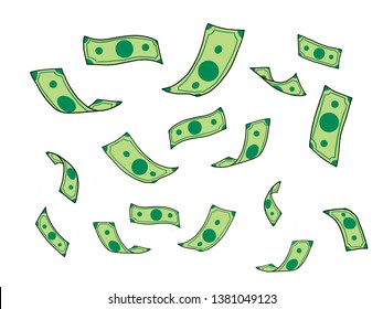 Money falling (drawing green banknotes falling on white background)