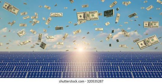 Money falling on a field of Solar Panels -  symbolizing earnings from solar energy - 3D Rendering