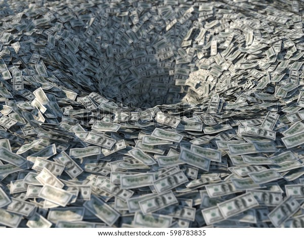 Money flows into a bottomless funnel, 3d illustration