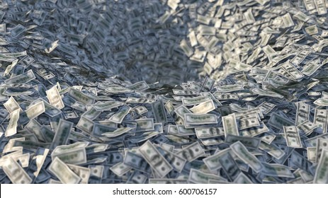 Money flows into a funnel, 3d illustration