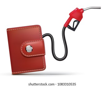 Money flows from the purse through fuel nozzle. Realistic 3d illustration
