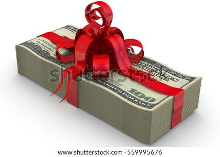 money gift stack one hundred dollar stock illustration 559995676