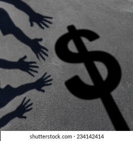 Money grab and human greed concept as cast shadows on pavement of a group of hands reaching for a dollar sign as a symbol of consumer and investor demand or an icon for paying taxes.