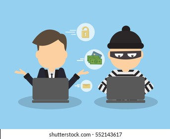 Money hacking concept Wanna Cry. Thief stealing money and information from laptop of businessman. Russian hacker. Wannacry.