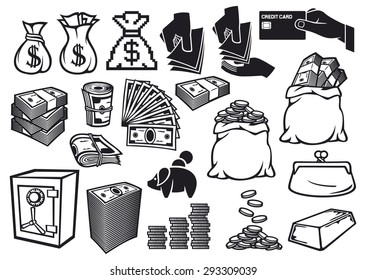 money icons set (bag with coins, safe, bullion, banknotes roll, stack of coins, credit card, old purse)