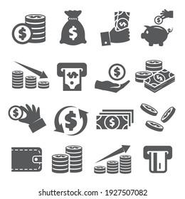 Geldsymbole auf weißem Hintergrund.