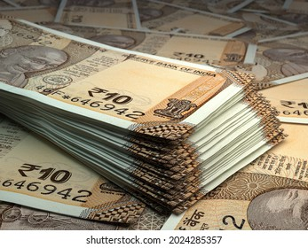 Money of India. Indian rupee bills. INR banknotes. 10 rupees. Business, finance, news background. 3d illustration.