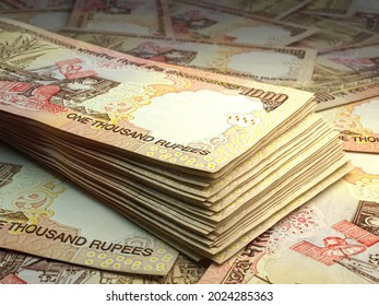 Money of India. Indian rupee bills. INR banknotes. 1000 rupees. Business, finance, news background. 3d illustration.