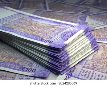 Money of India. Indian rupee bills. INR banknotes. 100 rupees. Business, finance, news background. 3d illustration.