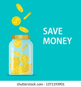 Money Jar. Saving dollar coin in jar.Save your money concept. illustration in flat style Raster version.