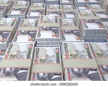 Money of Kenya. Kenyan shilling bills. KES banknotes. 100 shillings. Business, finance, news background. 3d illustration.