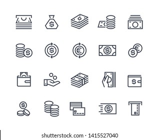 Money line icons. Business payment money market commercial exchange. Cash card wallet and coins  symbols