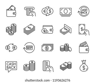 Money line icons. Set of Banking, Wallet and Coins signs. Credit card, Currency exchange and Cashback service. Euro and Dollar symbols. Quality design element. Classic style. Editable stroke.