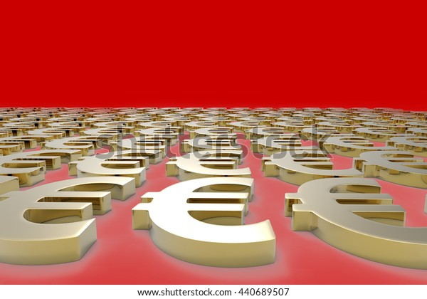 Money Making / Euro Currency in Gold / 3D Rendering