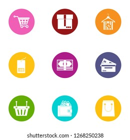Money pannier icons set. Flat set of 9 money pannier icons for web isolated on white background