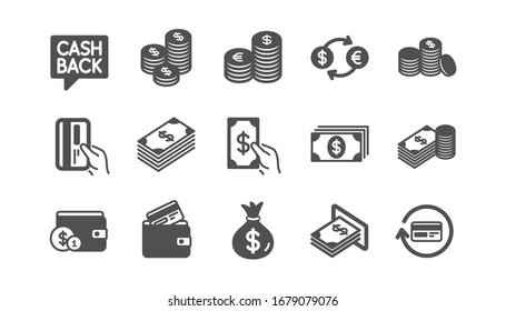 Symbole für Geld und Bezahlung.Bargeld, Brieftasche und Münzen. Classic-Icon-Set für den Account-Rückruf. Qualitätssatz.
