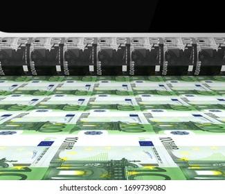 Money Printing 100 Euro Banknotes. 3D rendering