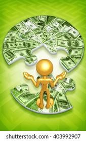 Money Puzzle 3D Illustration