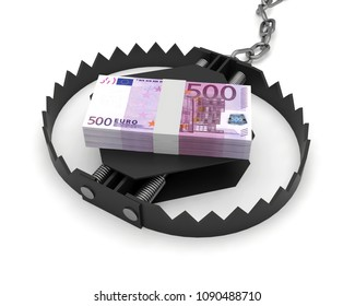 money risk currency trap euro banknotes 3D illustration