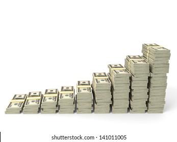 Money stacks graph. One hundred dollars. 3D illustration.
