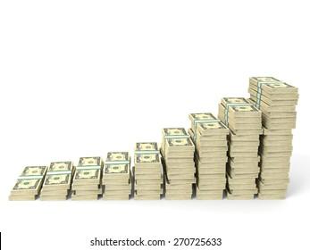 Money stacks graph. Two dollars. 3D illustration.