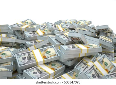 Money Stacks.(3D Rendering)