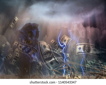Money storm at the field of wheat. 3D rendering