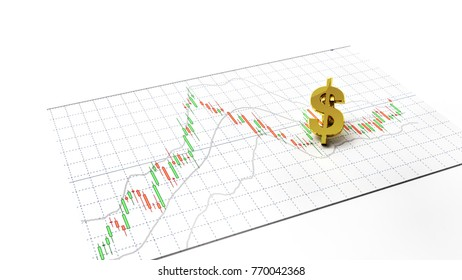 Money symbol gold stock exchange graph candlestick graph stock market currency and financial investor money background investment and money chart indicator copy space minimal concept 3D illustration