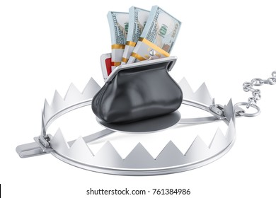 money trap with purse full dollar packs, 3D rendering isolated on white background