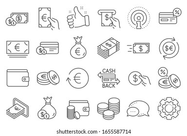 Money wallet line icons. Set of Credit card, Cash and Coins icons. Banking, Currency exchange and Cashback service. Wallet, Euro and Dollar money, credit card. Cash exchange, bank payment.
