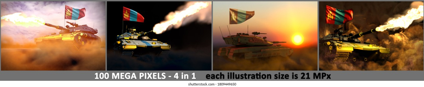 Mongolia army concept - 4 high detail images of modern tank with not real design with Mongolia flag, military 3D Illustration