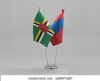 Mongolia - Dominica Cooperation Flags, White Background - 3D Render