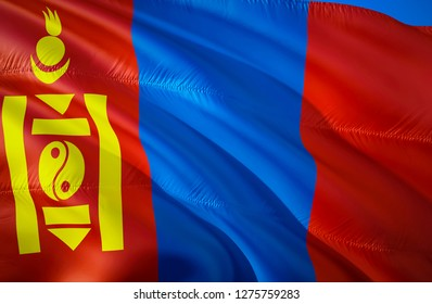 Mongolia flag. 3D Waving flag design. The national symbol of Mongolia, 3D rendering. Mongolian National colors. National flag of Mongolia for a background. Mongolia sign on smooth silk