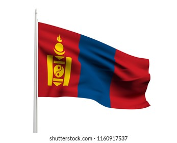 Mongolia flag floating in the wind with a White sky background. 3D illustration.
