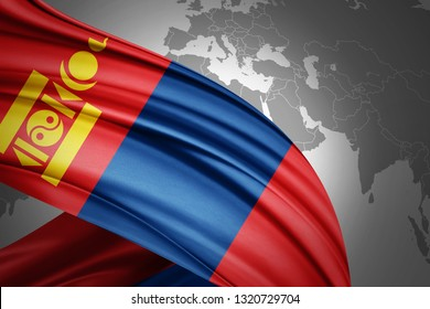 Mongolia flag of silk with copyspace for your text or images and world map background-3D illustration