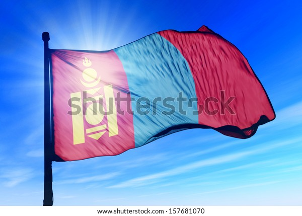 Mongolia flag waving on the wind