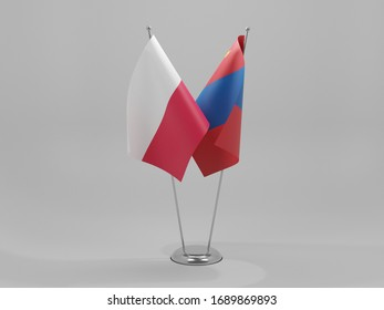 Mongolia - Poland Cooperation Flags, White Background - 3D Render