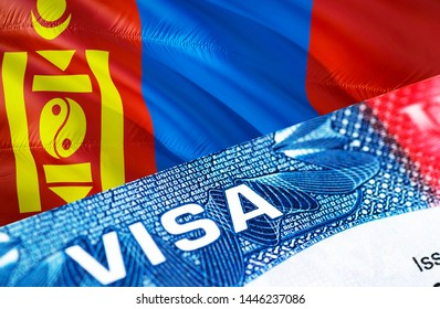 Mongolia Visa Document, with Mongolia flag in background, 3D rendering. Mongolia flag with Close up text VISA on USA visa stamp in passport.Visa passport stamp travel Mongolia business