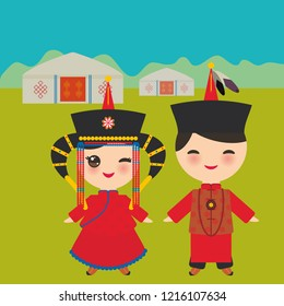 Mongolian boy and girl in red national costume and hat. Cartoon children in traditional dress. Landscape steppe, mountains, sky, home yurt.