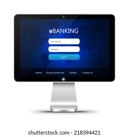 monitor with ebanking login page  isolated over white background