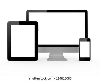 Monitor, mobile phone and tablet with blank screen isolated on white background.