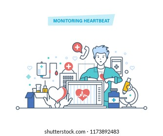 Monitoring heartbeat. Service, healthcare, medicine. Computer medical diagnostics, remote medical aid. Medical insurance, service, online consultation. Illustration thin line design of doodles.