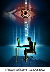 Monitoring online data. 3D illustration.