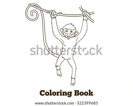 Monkey Cartoon Coloring Book Raster Version Stock Illustration